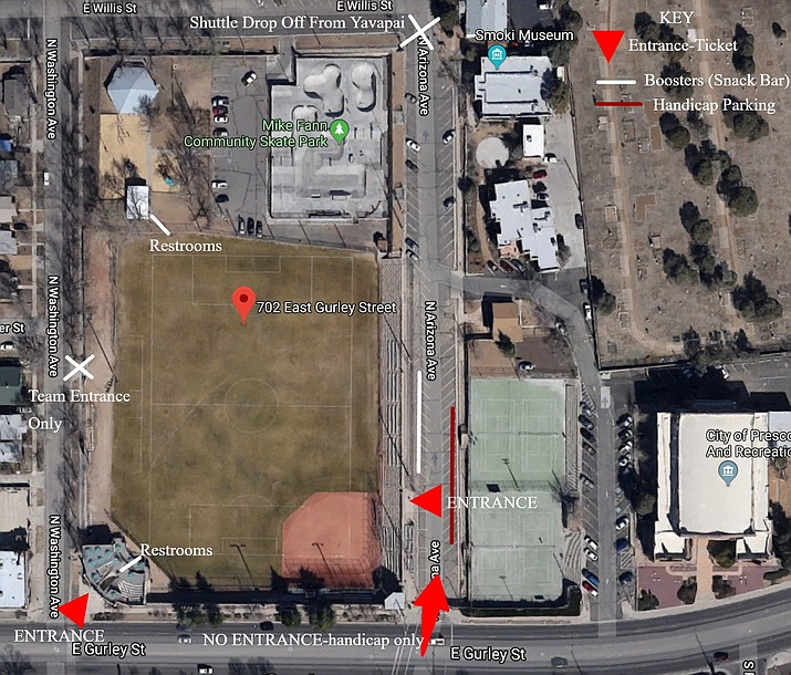 This map shows Ken Lindley Field and its surrounding streets, entrance and drop-off points, vendor locations, restrooms, and handicap parking during Prescott football game days. Ken Lindley Field will be the site of Badger football home games until Bill Shepard Field at the high school is completely renovated. (Prescott Athletics/Courtesy)