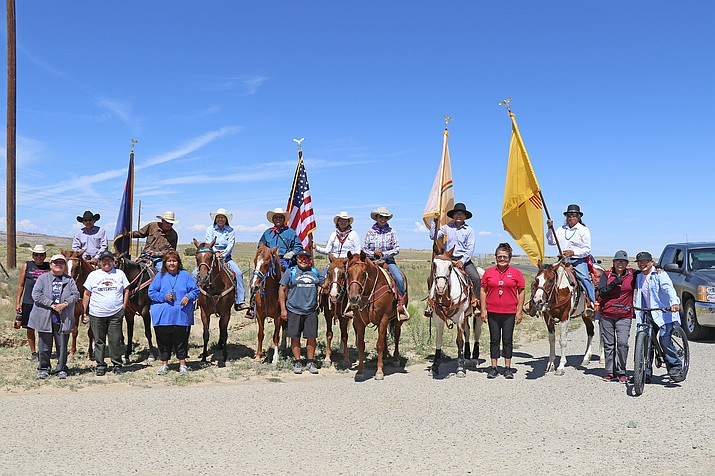 The trail riders were met with participants who walked a portion of the final course from the Crownpoint Rodeo grounds to the Navajo Technical University main campus. (Photo/Navajo Technical University)