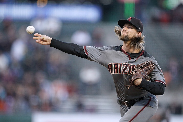 Arizona Diamondbacks pitcher Mike Leake throws to a San Francisco Giants batter during the first inning of a game in San Francisco, Tuesday, Aug. 27, 2019. (Tony Avelar/AP)