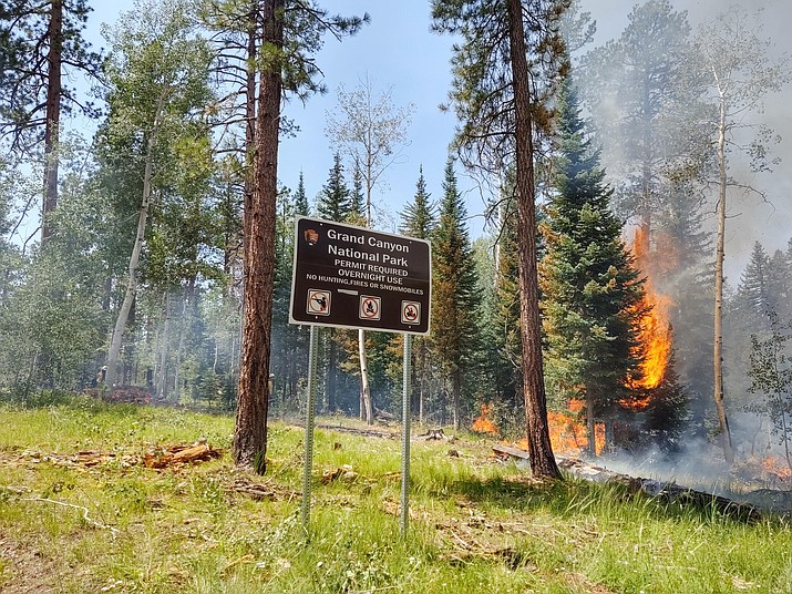 The Ikes Fire has burned just over 6,200 acres on the Grand Canyon National Park North Rim boundary with Kaibab National Forest. (Jason Nez/USFS)