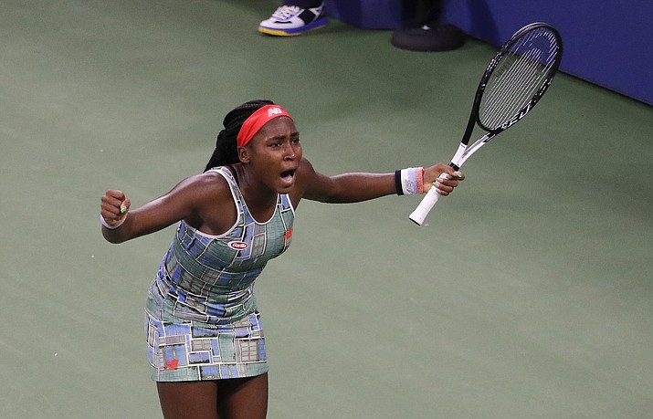 Coco Gauff, of the United States, reacts after defeating Anastasia Potapova, of Russia, during the first round of the US Open tennis tournament Tuesday, Aug. 27, 2019, in New York. (Julie Jacobson/AP)