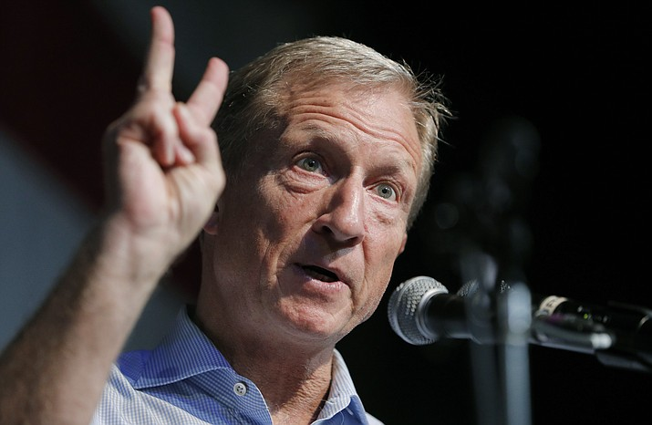 FILE - In this Aug. 9, 2019 photo, Democratic presidential candidate and businessman Tom Steyer speaks at the Iowa Democratic Wing Ding at the Surf Ballroom in Clear Lake, Iowa. A handful of struggling Democratic presidential hopefuls are bracing for bad news as the window to qualify for the party's next debate closes quickly. (AP Photo/John Locher)