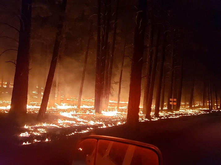 A photo taken of the Sheridan Fire Tuesday night, Aug. 20. The fire continues to burn 23 miles northwest of Prescott. (USFS/Courtesy)