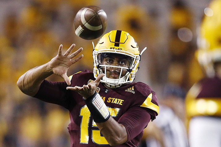 Arizona State quarterback Dillon Sterling-Cole warms up prior to a game against San Diego State Saturday, Sept. 9, 2017, in Tempe, Ariz. Arizona State hoping to build on solid first season under coach Herm Edwards. The Sun Devils have several key players back from a team that finished with a winning record and went to a bowl game. Finding a quarterback to replace Manny Wilkins will be a big key heading into Edwards' second season. (Ross D. Franklin/AP)