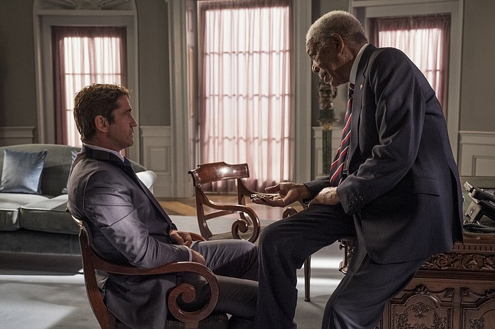 """This image released by Lionsgate shows Gerard Butler, left and Morgan Freeman in """"Angel Has Fallen,"""" directed by Ric Roman Waugh. (Jack English/Lionsgate via AP)"""