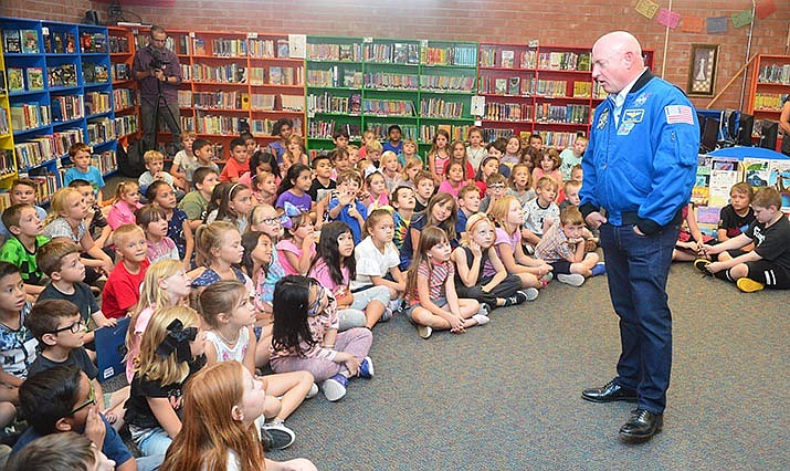 Mark Kelly talks about the launch with second graders as he visits Taylor Hicks Elementary School in Prescott Thursday.  (Les Stukenberg/Courier)