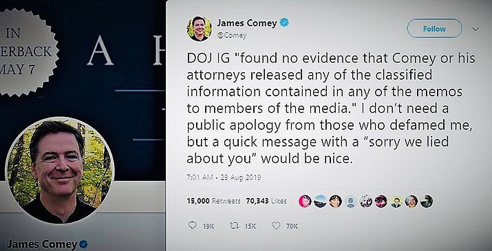 Comey remains unapologetic. (Twitter screenshot)