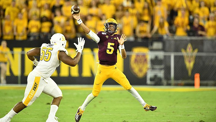 Arizona State true freshman Jayden Daniels threw for 284 yards and two touchdowns in a 30-7 win over Kent State Thursday night. (Photo courtesy of Arizona State Athletics)