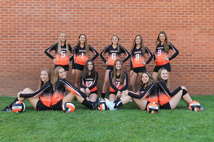 The Williams Vikings varsity volleyball team includes: Sydnee Mortensen, Loren Chism, Maegan Ford, Madi Olson, Brooklyn Maebe, Shaelee Echeverria, Rory Stevens, Ashlynn Kennelly, Bridgette Hernandez, Chyanne Echeverria and Marcie Heap. (Wendy Howell/WGCN)