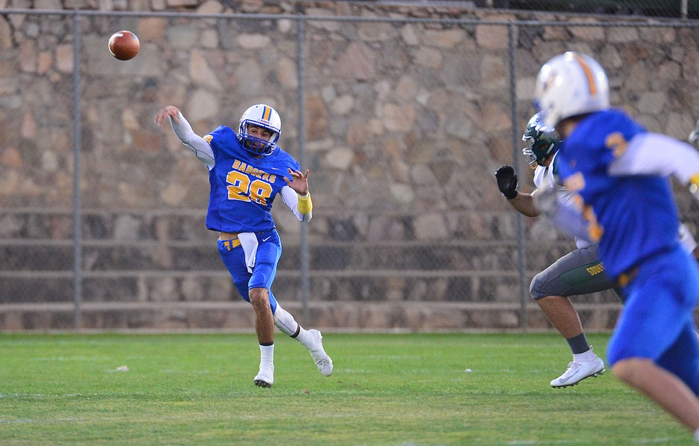 Prescott's Dellin Boyd throws downfield as the Badgers held their 2019 home opener at Ken Lindley Field Friday, Aug. 30, 2019.  (Les Stukenberg/Courier)