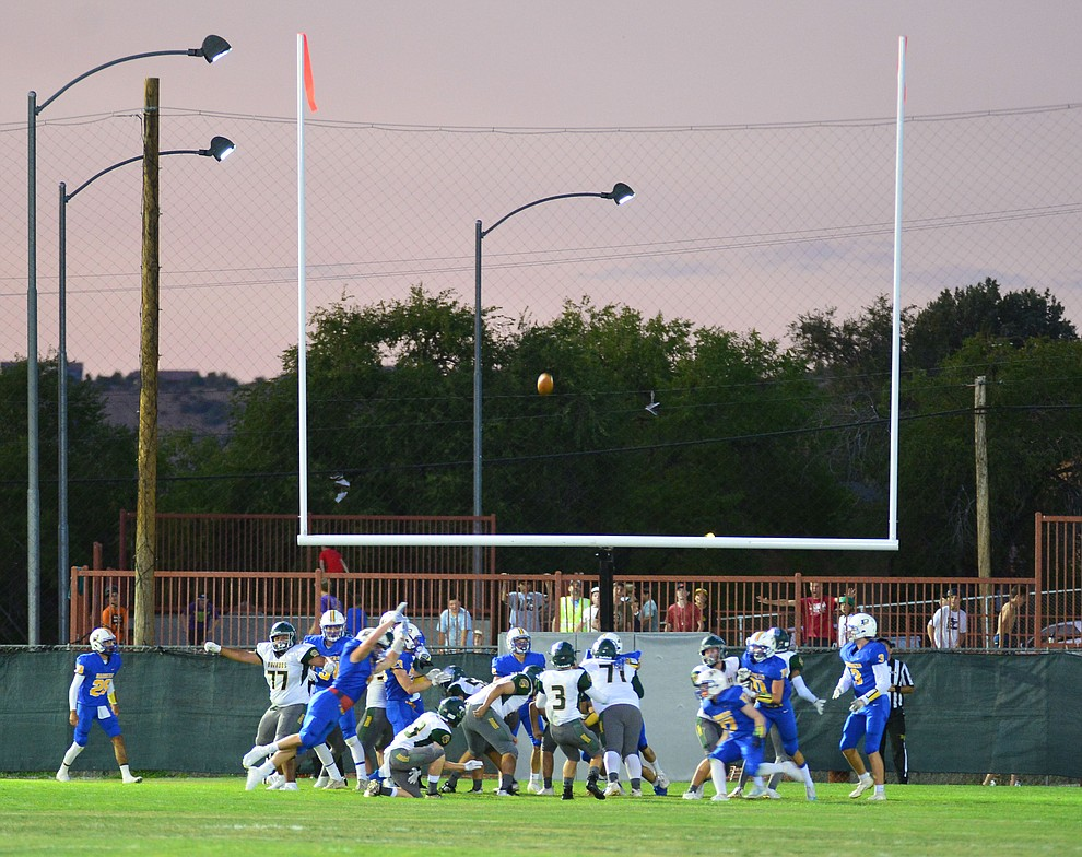 Prescott has one set of goal posts on the North end as the Badgers held their 2019 home opener at Ken Lindley Field Friday, Aug. 30, 2019.  (Les Stukenberg/Courier)