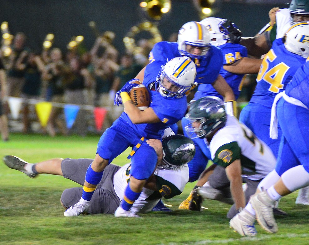 Prescott's Sylas Espetia runs hard as the Badgers held their 2019 home opener at Ken Lindley Field Friday, Aug. 30, 2019.  (Les Stukenberg/Courier)