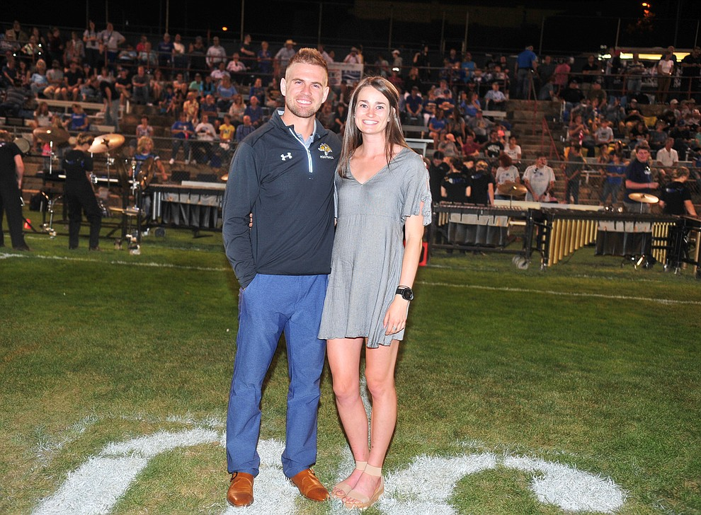 Prescott Hall of Fame Inductees Brady Mengarelli and Claren Fraher, along with Allison Fraher who couldn't attend were honored as the Badgers held their 2019 home opener at Ken Lindley Field Friday, Aug. 30, 2019.  (Les Stukenberg/Courier)