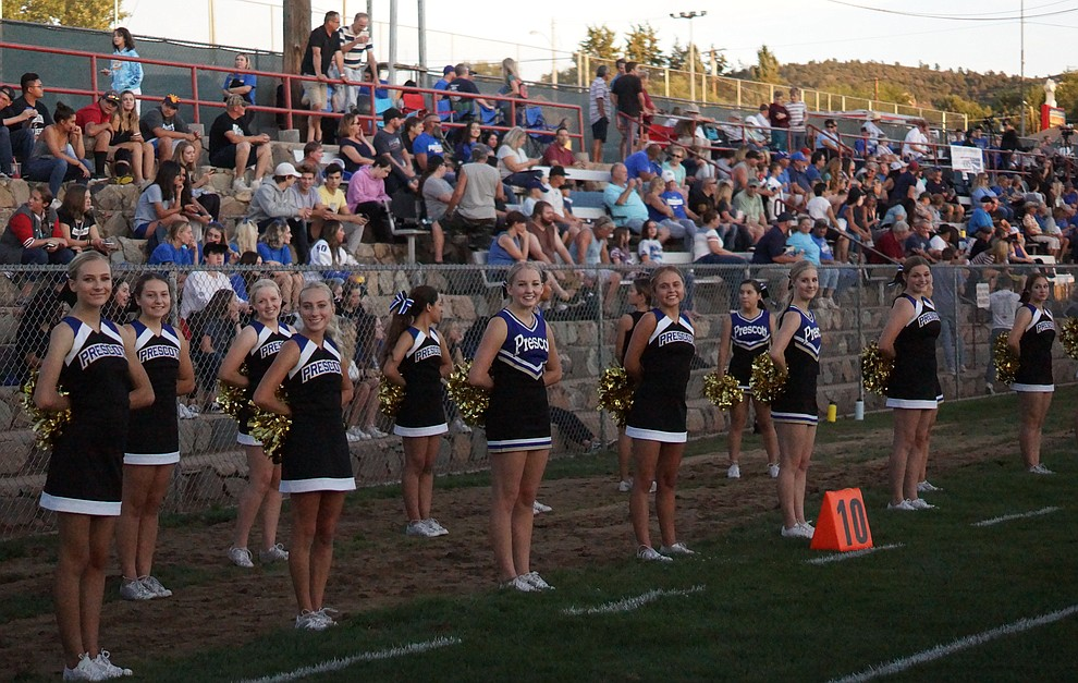 Prescott Cheer Squad and fans as the Badgers held their 2019 home opener at Ken Lindley Field Friday, Aug. 30, 2019.  (Les Stukenberg/Courier)
