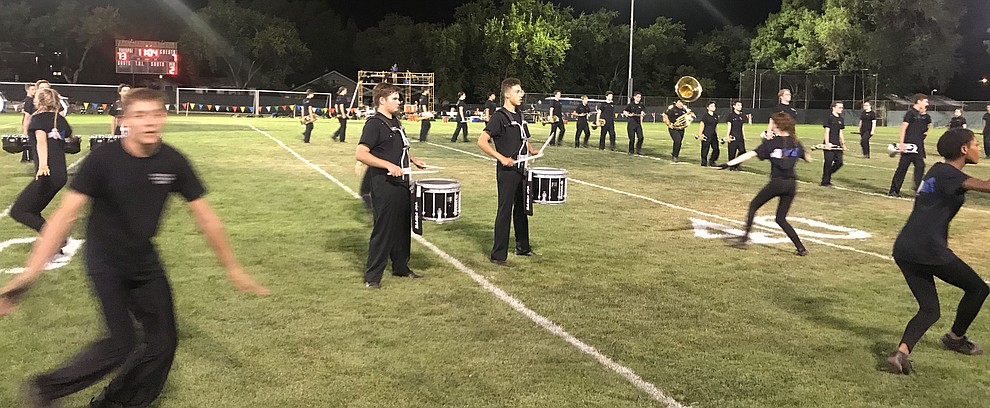 The Pride of Prescott Marching Band performs at halftime as the Badgers held their 2019 home opener at Ken Lindley Field Friday, Aug. 30, 2019.  (Les Stukenberg/Courier)