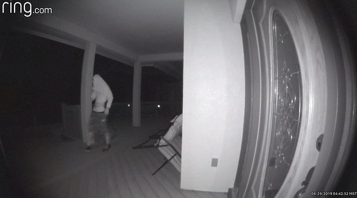 A security video still of a burglary suspect in the Bensch Rance area early Wednesday morning, Aug. 28, 2019. (Yavapai County Sheriff's Office/Courtesy)