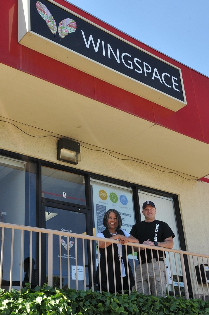 WingSpace Coworking founder Melanie Banayat, whose business stands at 371 Garden St., Suite A in Prescott, said her 50 members use WingSpace's 4,500-square-foot Prescott location for their independent workforce needs. Jon Lee, a data analyst and commercial drone pilot for his Prescott-based company Data Aero LLC who's a WingSpace member from nearby Walker, has helped look into a WingSpace satellite location in Prescott Valley. (Doug Cook/Courier)