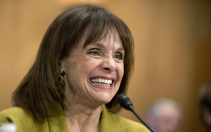 In this May 7, 2014 file photo, actress and cancer survivor Valerie Harper, testifies before a Senate Special Committee on Aging hearing to examine the fight against cancer on Capitol Hill in Washington. Valerie Harper, who scored guffaws and stole hearts as Rhoda Morgenstern on back-to-back hit sitcoms in the 1970s, has died, Friday, Aug. 30, 2019. She was 80. (Manuel Balce Ceneta/AP, File)