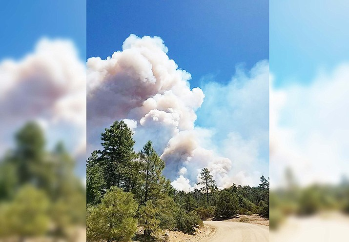The Sheridan Fire, burning in an area about 23 miles northwest of the town of Prescott in Prescott National Forest, has grown to more than 15,000 acres. Courtesy of Prescott National Forest