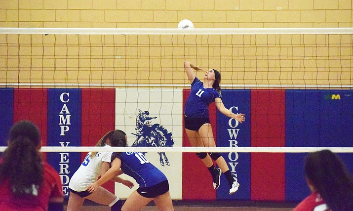 Camp Verde's Maya Hedges serves the ball last season. In 2018 Hedges was named honorable mention All-Central Region. VVN/James Kelley