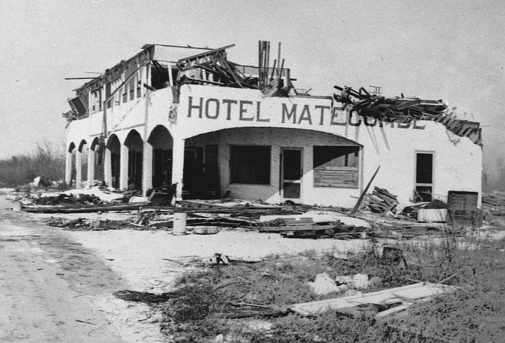 This undated photo made available by the Keys History & Discovery Center, shows a hotel destroyed by the Labor Day hurricane of 1935. Florida is bracing for Hurricane Dorian, a powerful hurricane, that could strike anywhere along the east coast from Florida to North Carolina. (Keys History & Discovery Center)