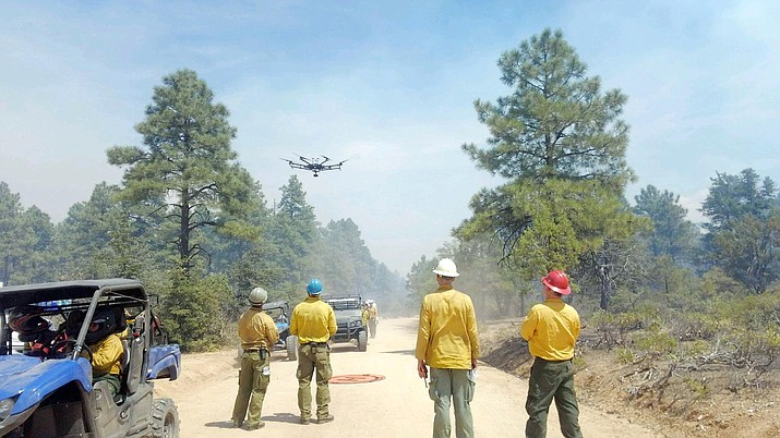 Fire crews operate a drone this past week over the Sheridan Fire, which is about 23 miles northwest of Prescott. The drone allows for monitoring and evaluation of the fire's progress. (Prescott National Forest, inciweb/Courtesy)
