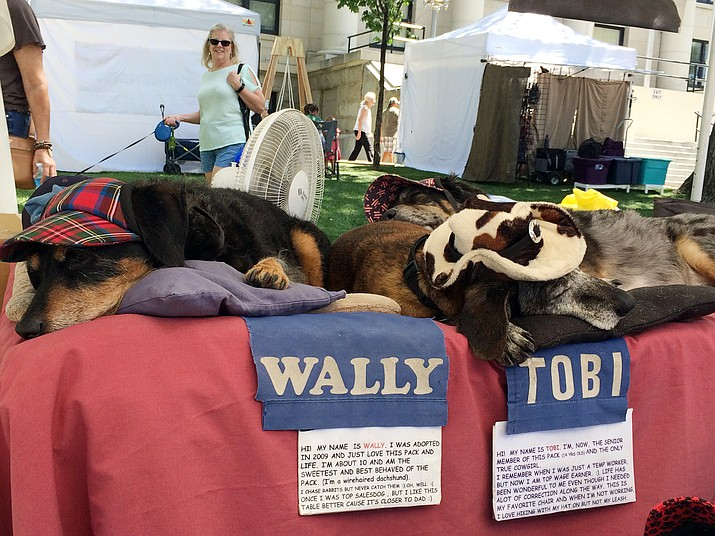 """""""Wally"""" and """"Tobi,"""" in the foreground, are models at the Donn Moseley booth, at the Faire on the Square Sunday, Sept. 1, 2019. The plaza event concludes today. (Jason Wheeler/Courier)"""