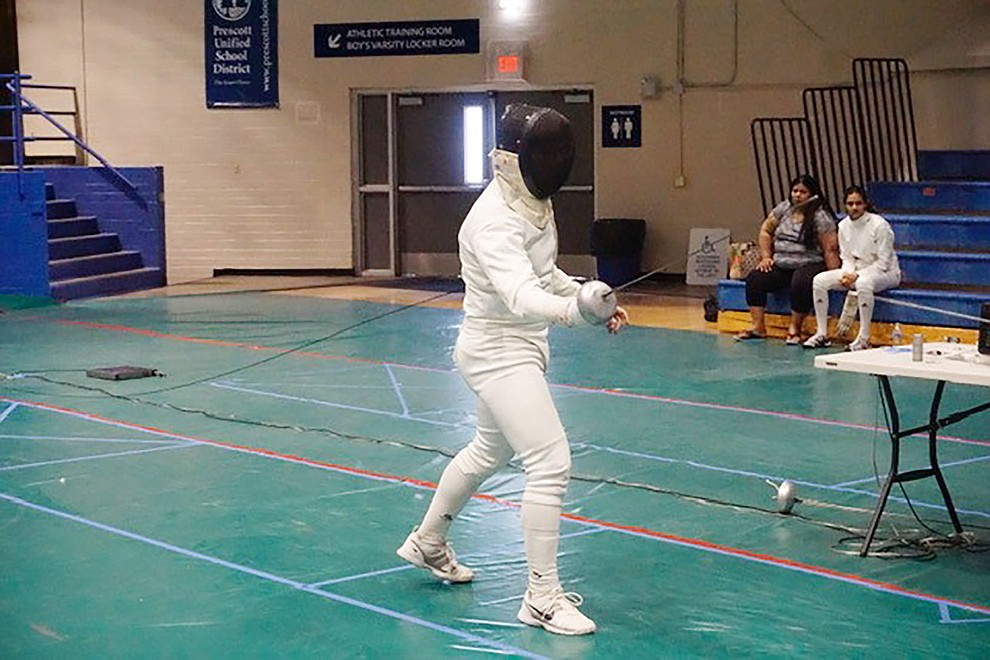 Henry Villani of Salle d'Escrime of Prescott competes during the 25th Annual Prescott Fall Fencing Tournament at Prescott High School on Sunday, Sept. 1, 2019. (Aaron Valdez/Courier)