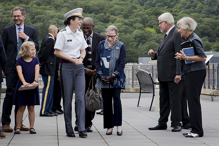 U.S,. Supreme Court Justice Ruth Bader Ginsburg meets with cadets during a visit to the U.S. Military Academy in 2018. (Courtesy photo/U.S. Military Academy)