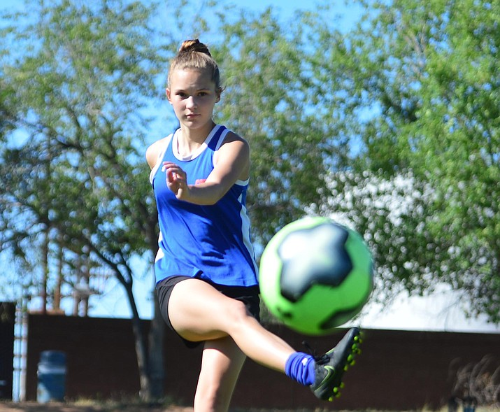 Chino Valley's Madison Foster takes a shot on goal as the girls practice Monday, Aug. 12, 2019, in Chino Valley. (Les Stukenberg/Courier)