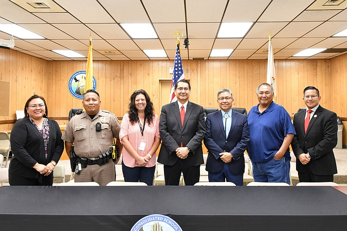 A new agreement between the Navajo Nation and Central Consolidated School District allows School Resource Officers to be admitted into schools. The purpose is to help reduce crime and to provide positive role models to students. (Photo/Office of the President and Vice President)