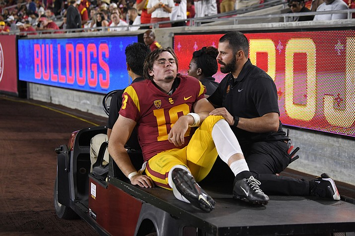Southern California quarterback JT Daniels is carted off the field after being injured during the first half of a game against Fresno State Saturday, Aug. 31, 2019, in Los Angeles. (Mark J. Terrill/AP)