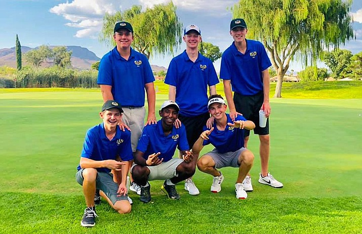 The Prescott boys golf team poses for a photo after taking first place in its match against Mohave and Flagstaff on Tuesday, Sept. 3, 2019, at Cerbat Cliffs Golf Course in Kingman. (Dan Osterloh/Courtesy)