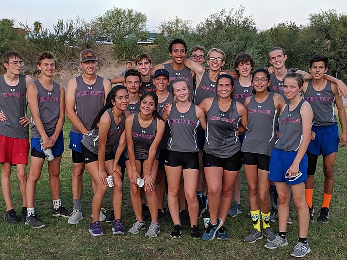 Chino Valley cross-country takes a team photo after taking first place in the Wrangler Meet on Wednesday, Sept. 4, 2019, at the Wickenburg Country Club. (Marty Campitelli, Chino Valley Athletics/Courtesy)