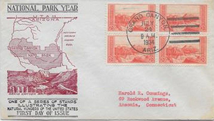 This year marks the 100th anniversary of the Grand Canyon being named a national park. Marjory Sente, an avid life-long stamp collector and postal historian will highlight the stamps and envelopes honoring the natural wonder that document its rich postal history at the Prescott Public Library on Saturday, Sept. 7. (Prescott Public Library)