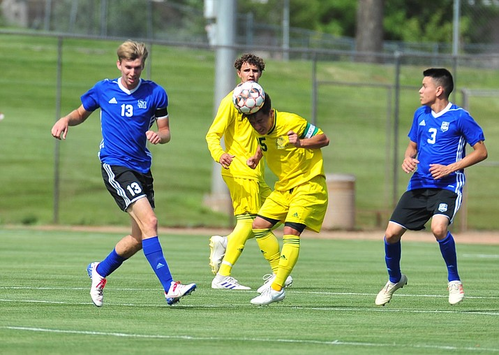 Yavapai College soccer player Kevyn Lo heads the ball forward Aug. 22, 2019, in Prescott Valley. The Roughriders beat the College of Southern Nevada 5-1 on Tuesday, Sept. 3, 2019, in Henderson, Nevada. (Les Stukenberg/Courier, file)
