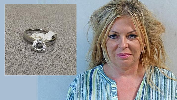 Izaebela Kolano and the ring allegedly stolen by Izaebela Kolano from a New Jersey Costco. (Clifton Police)