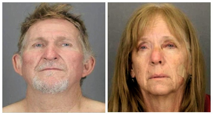 These undated file booking photos provided by the Tucson Police Department show 56-year-old Blane Barksdale, left, and his 59-year-old wife Susan Barksdale. Authorities believe that the fugitive couple wanted in a killing in Arizona is getting help staying missing. U.S. Marshal for Arizona David Gonzales said Tuesday, Sept. 3, 2019 that deputy marshals are looking at several persons of interest in the search for the couple. U.S. Marshals, the FBI and other agencies have been sifting through hundreds of tips since the pair overtook a prison transport van Aug. 26 outside of St. Johns, Ariz. (Tucson Police Department via AP, file)