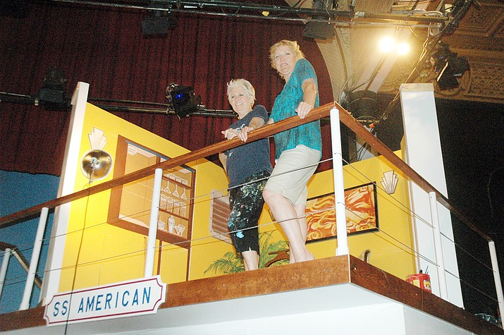"Scenic Artist Noelene Patterson and director Sandy Vernon on the set of ""Anything Goes,"" which starts next week at Prescott Center for the Arts. (Jason Wheeler/Courier)"