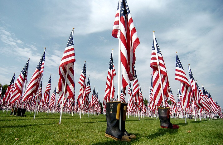 Every flag tells a story at the Annual Northern Arizona Healing Field display where thousands of U.S. flags are in a beautiful formation at the Prescott Valley Civic Center. This event will run from Friday, Sept. 6 through Friday, Sept. 13, 2019. (Les Stukenberg/Courier file)