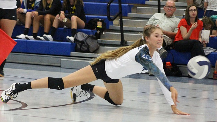 Kingman Academy junior Cynda Campbell stretches out for the ball Thursday night in a 3-1 win over Wickenburg. (Photo by Beau Bearden/Daily Miner)