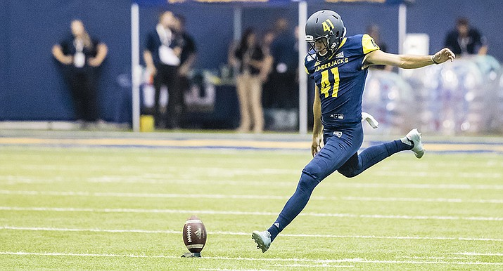 NAU junior Luis Aguilar won Big Sky Special Teams Player of the Week after scoring 12 of the Lumberjacks' points in their 37-23 win over Missouri State at home in the season opener. Photo courtesy NAU/ Rick Johnson