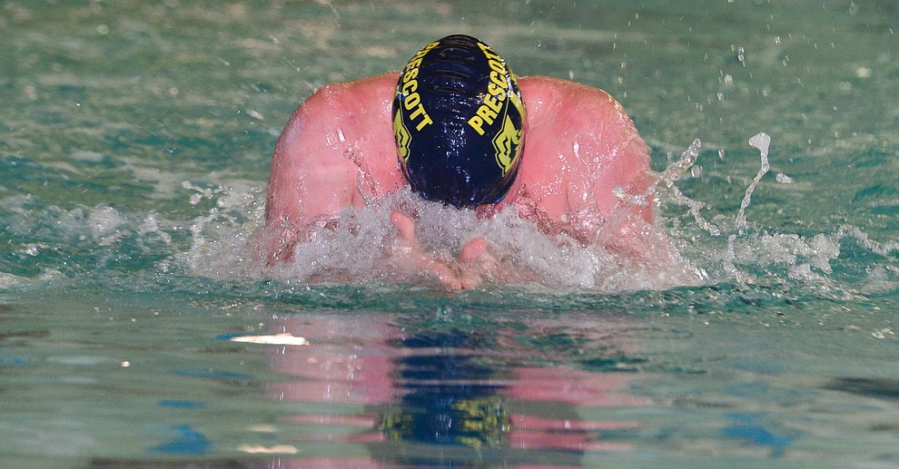 Prescott's Blake Francis swims the breaststroke in the  medley relay as the Badgers host Arizona College Prep in a dual swim meet Thursday, Sept. 5, 2019, at the Prescott YMCA.  (Les Stukenberg/Courier)