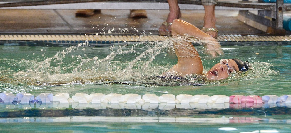 Prescott's Liberty English swims in the 200 free as the Badgers host Arizona College Prep in a dual swim meet Thursday, Sept. 5, 2019, at the Prescott YMCA.  (Les Stukenberg/Courier)