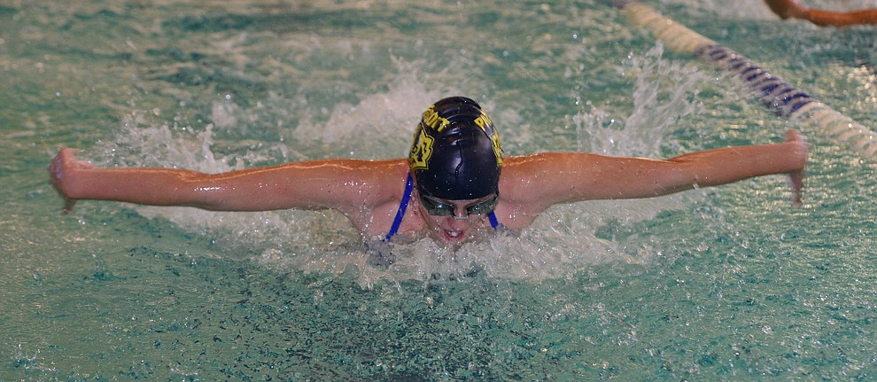 Prescott's Lily Deakin swims the butterfly in the 200 individual medley as the Badgers host Arizona College Prep in a dual swim meet Thursday, Sept. 5, 2019, at the Prescott YMCA.  (Les Stukenberg/Courier)