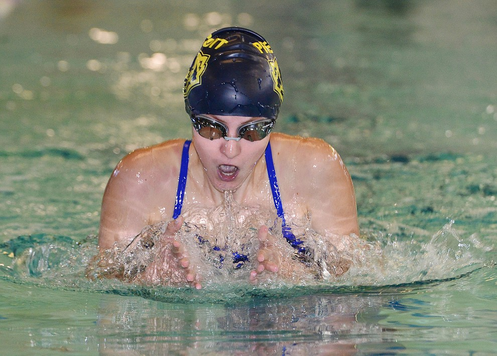Prescott's Lily Deakin swims the breaststroke in the 200 individual medley as the Badgers host Arizona College Prep in a dual swim meet Thursday, Sept. 5, 2019, at the Prescott YMCA.  (Les Stukenberg/Courier)