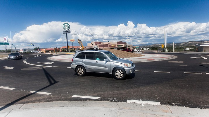 Roundabouts, such as this one along State Route 260 near I-17 in Camp Verde, are a common site in the Verde Valley. Those of us who live here and drive through roundabouts regularly should learn to slow down without stopping unless yielding to another vehicle. VVN file photo.