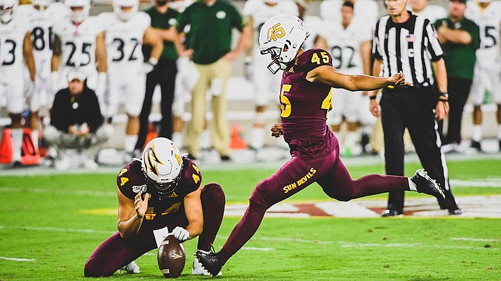 Cristian Zendejas kicked four field goals to help lead Arizona State to a 19-7 win over Sacramento State on Friday night. (Photo courtesy of ASU Athletics)