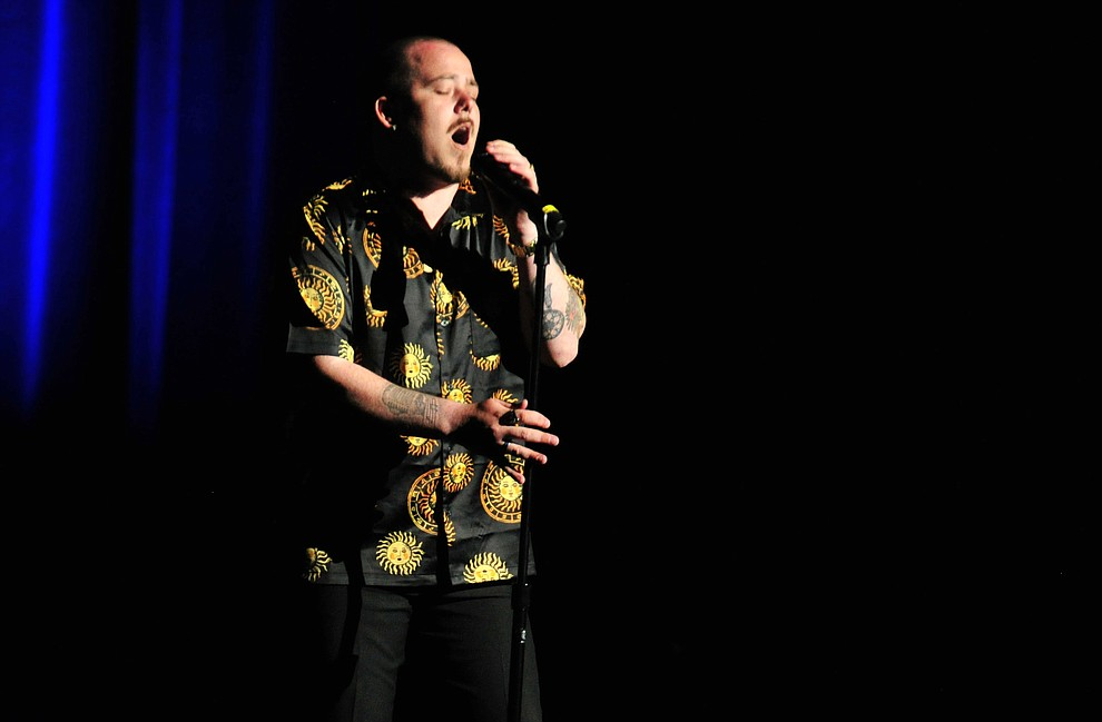 """Prescott Valley's Nolan Adair sings """"I Can't Make You Love Me"""" during the finale of the 2019 Prescott Sings Competition Thursday, Sept. 5, 2019, at the Yavapai College Performing Arts Center in Prescott.  (Les Stukenberg/Courier)"""