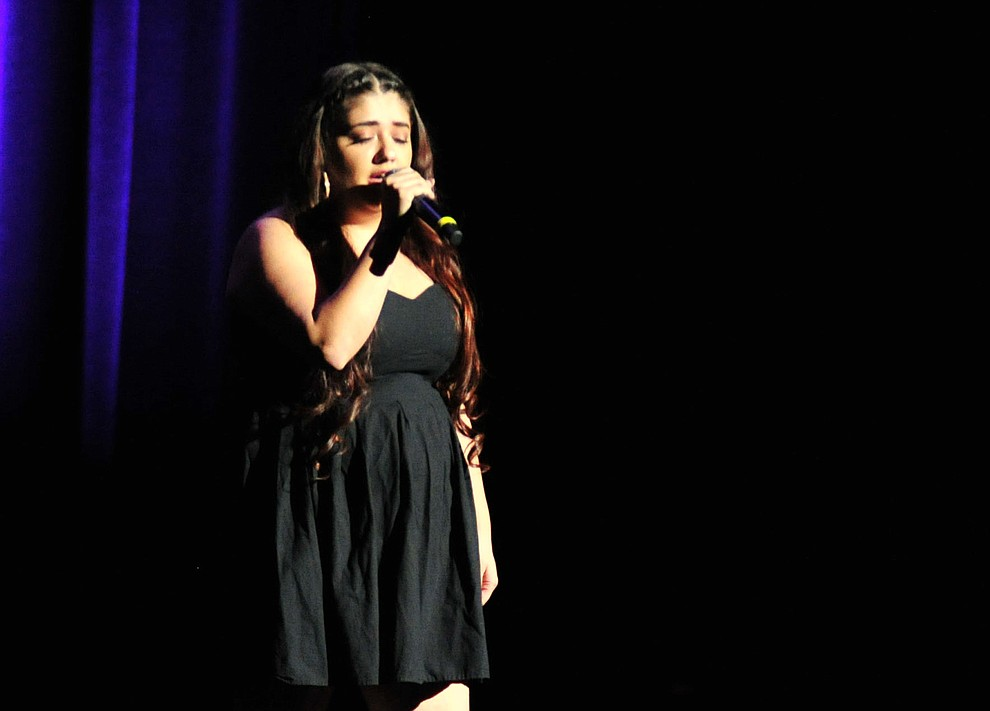 """Angelina Howe, from Williams, sings """"If I Ain't Got You""""during the finale of the 2019 Prescott Sings Competition Thursday, Sept. 5, 2019, at the Yavapai College Performing Arts Center in Prescott.  (Les Stukenberg/Courier)"""